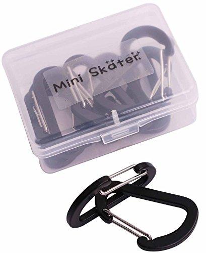 Mini Skater Brand Aluminum Alloy Spring Clip Metal Buckle, D Shaped, Flat Style, 12Pcs/Pack (Black)