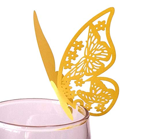 YEHAM 100 Pcs 3D Laser Cut Butterfly Wine Glass Cards Table Number Name Paper Place Cards for Wedding Party Decoration (Gold)