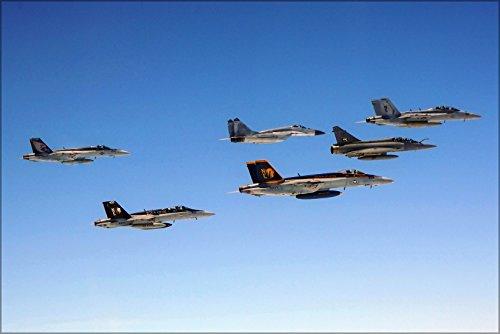24x36 Poster . Fa-18E Super Hornet Fa-18C Mig-29S Mirage 2000 Ea-18G Growler ()