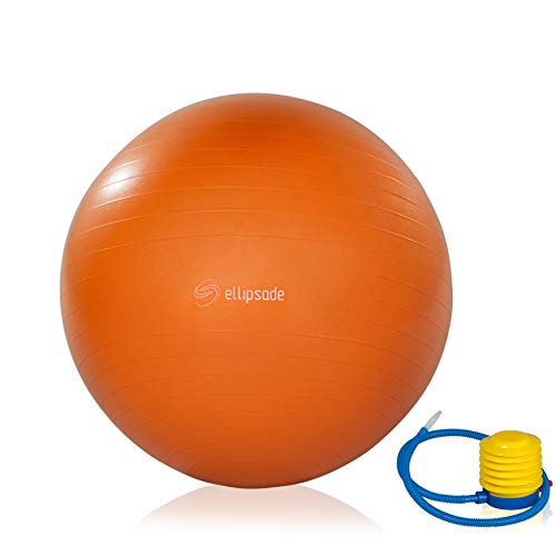 Exercise Ball for Gym, Yoga, Balance & Fitness Workout - 65cm Orange Anti Burst, Slip Resistant Design - Foot Pump Included by Ellipsade