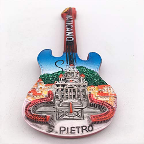 Fridge Magnet Guitar Vatican Rome Italy 3D Resin Handmade Craft Tourist Travel City Souvenir Collection Letter Refrigerator Sticker