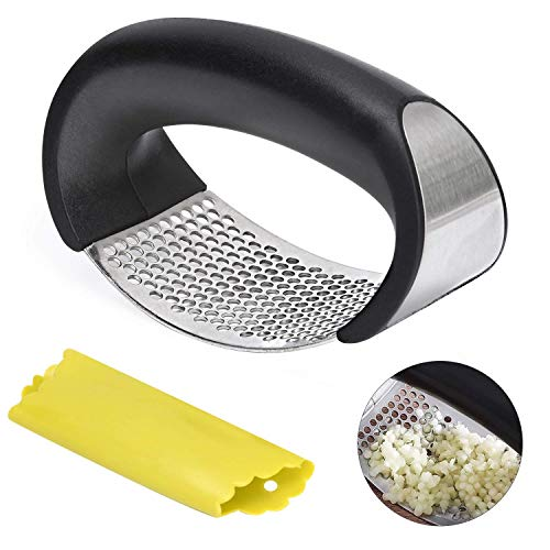 Garlic Press Rocker - Garlic Crusher Squeezer Mincer Chopper, Professional Stainless Steel Kitchen Gadgets by AERUZ includes Silicone Garlic Peeler with Ergonomic handle, Easy to Clean (2019)