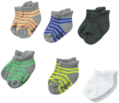 OSHKOSH B'gosh Baby-Boys Newborn 6 Pack Striped Anklet Socks  Grey/White/Black/Yellow/Red/Navy/Green  3-12 Months