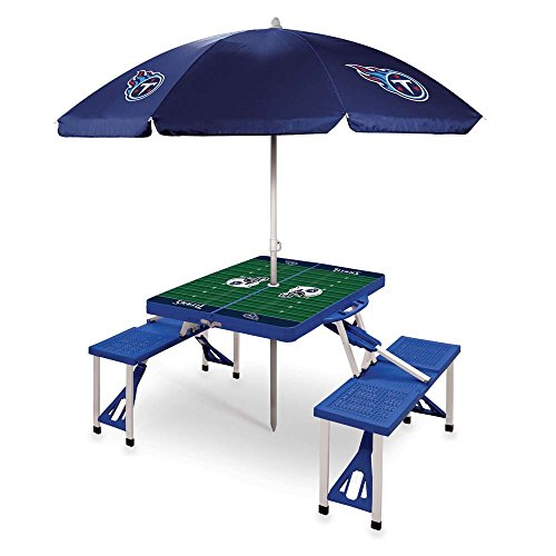 NFL Tennessee Titans Picnic Table Sport with Umbrella Digital Print, One Size, Blue by PICNIC TIME