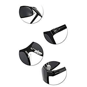 SOXICK Adjustable Metal Frame Polarized Driving Sunglasses for Men Womens Driver Glasses Black Lens