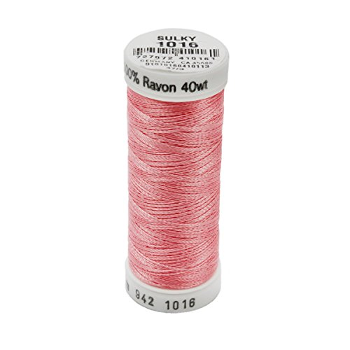 Sulky 942-1016 Rayon Thread for Sewing, 250-Yard, Pastel (Coral Embroidery)