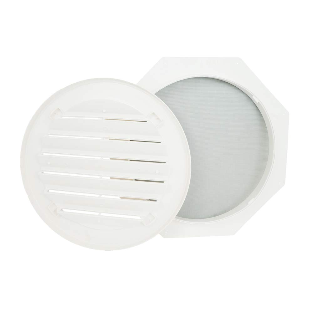 Suntown 16 Round Functional Gable Vent with Screen - 2 Piece Construction - Paintable