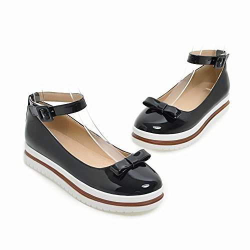 Bows Ankle Foot Charm Black Pump Comfort Womens Shoes Strap Platform pnBBU