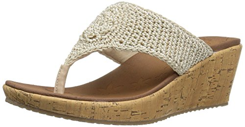 Skechers Cali Women's Beverlee Wedge Sandal,Natural Crochet,8 M US