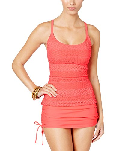 Plus Croche Tankini Swim Top Separates Pink 22W ()