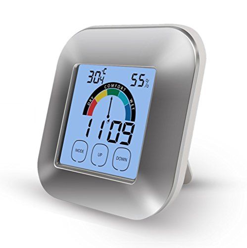 Price comparison product image Digital Hygrometer, Aorious Thermometer Humidity Monitor Indoor Temperature Gauge Humidity Meter Smart Timer with Touchscreen and Backlight