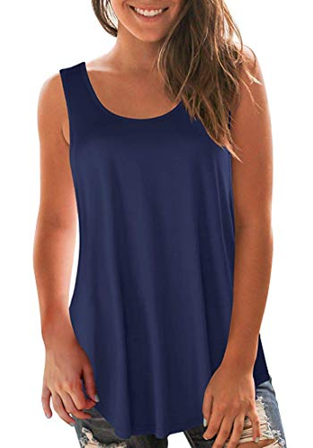 (Oritina Women's Shirts and Blouses Sleeveless Tunic Tops 04 Navy Blue XXL)