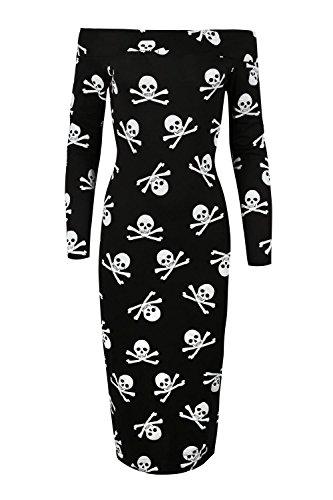 Frauen Damen Bedruckte Blumenkleid - Schulterfreie Langärmlige Midi-Kleid - Plusgrößen - Plusgröße - EU 48/50, Schwarzer Schädelbein