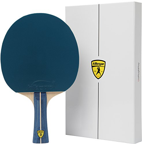 Killerspin JET200 BluVanilla Ping Pong Racket - Beginner Table Tennis Racket| 5 Layer Wood Blade, Jet Basic Rubbers, Flared Handle| Practice Quality Ping Pong Racket| Memory Book Gift Box Storage - Flexible Paddles Rubber