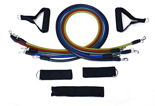 Resistance Bands - Premium 11 Pieces Resistance Bands set with Ankle Straps, Door Anchor, Grip Handles, Carrying Pouch and FREE Workout Guide - Indoor and Outdoor Use - By Simple and Convenient
