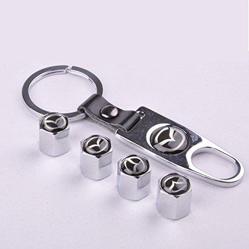 4 Car Wheel Tire Valve Stem Air Caps Covers 1 Set Plus Bonus Keychain For Mazda Silver