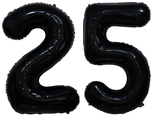 ZiYan 40 Inch Giant 25th Black Number Balloons,Birthday/Party balloons ()