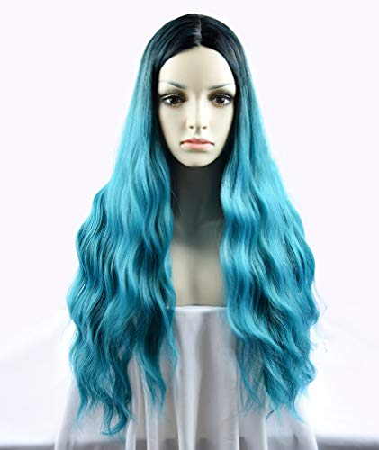 SEIKEA Wavy Teal Ombre Wig Middle Part for Women Dark Root 27 Inch -