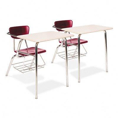 Virco 3400 Series Chair Desk, 22-3/4W X 35-3/4D X 29-1/4H, Sandstone/Wine, 2/Carton