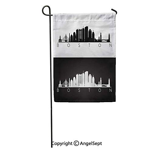 Durable Creative Design 12x18in Garden Flag City Boston USA Skyline and Landmarks Silhouette Black White Massachusetts Home Yard House Decor Outdoor Stand