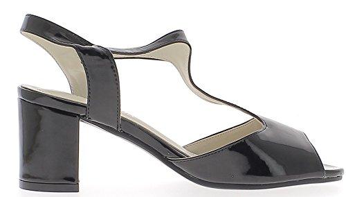 Talón sandalias negro de 7cm y 1 cm de cojín pintado