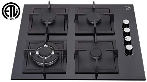 K&H 4 Burner 24″ NATURAL Gas Glass Cooktop 4-GCW