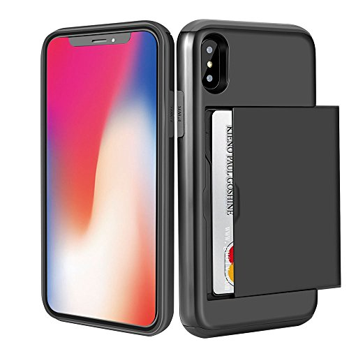 iPhone X Case, Card Slot Holder iPhone X Wallet Case Dual Layer Protective Shell Shock Absorbing Tough Bumper Cover Scratch-proof Hybrid Casing Hard Armor for iPhone X Black …