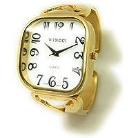 Ladies Jumbo Big Numbers Metal Bangle Cuff Fashion Watch White Dial Wincci (Gold)
