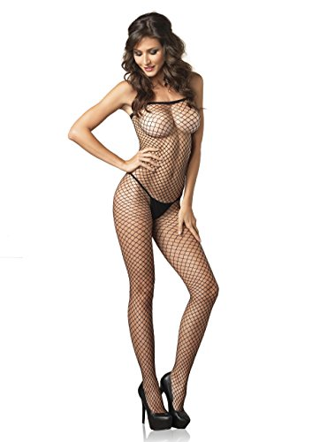 Leg Avenue Women's Lycra Industrial Fishnet Bodystocking, Black, One (Black Industrial Fishnet)