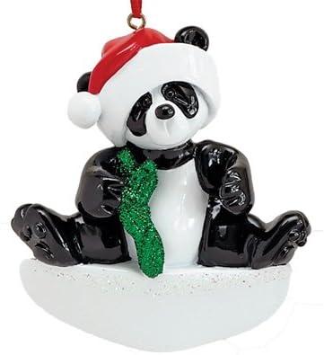 Panda Bear Bamboo Wood Christmas Tree Holiday Ornament