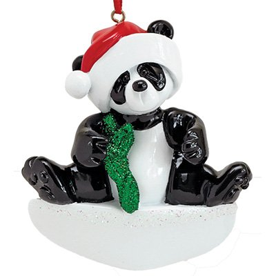 - Personalized Bamboo Panda Christmas Ornament for Tree 2018 - Cute Playful Baby Bear with Santa Hat - Holiday Kid Glitter Red Green Child Grand-Son Daughter Love - Free Customization