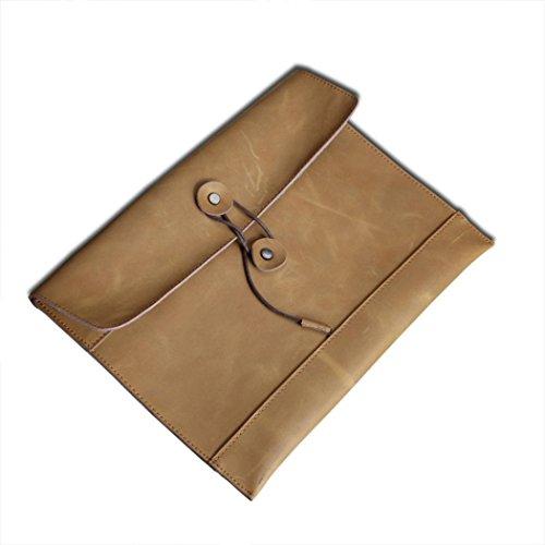 Naladoo Mens Cowhide Messenger Bag Vintage Envelope Bag 3425cm (Khaki)