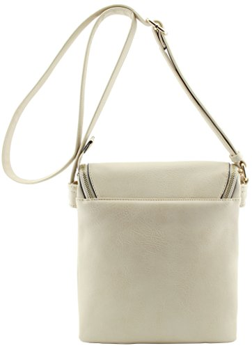 Faux bags flap cross compartments Nude leather top triple large body Rrrn8B7wqa