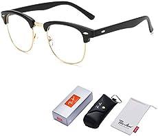 ad582d6c38ebc Pro Acme Vintage Inspired Semi-Rimless Clear Lens Glasses Frame Horn Rimmed  (Matte Black)