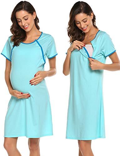 Ekouaer Nursing Nightgown Nightdress Hospital Gown Delivery/Labor/Maternity/Pregnancy Soft Breastfeeding Dress ()