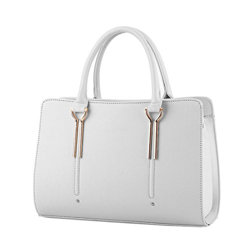 Womens Pure Color Pu Leather Boutique Tote Bags Top Handle Handbag -