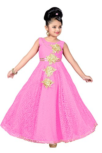 Aarika Girl's Self Design Flower Net Fabric Party Wear Ball Gown (G-2855-PINK_32_10-11 Years) by Aarika