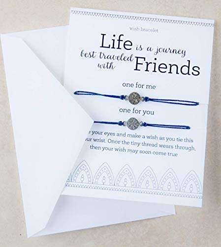 Life is a Journey Friendship Bracelet Matching Set of Two Compass Wish Jewelry Travel Long Distance