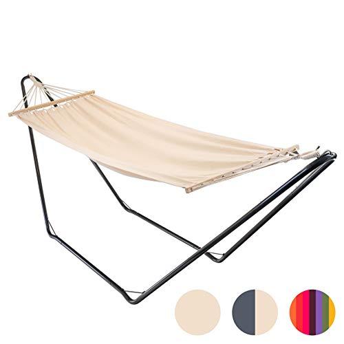 Neutral with Carry Bag Harbour Housewares Brazilian Garden Camping Outdoor Hammock with Spreader Bar Cotton