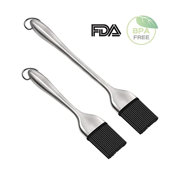 O'YA BBQ Basting Brushes for Grilling Baking Marinating, Food Grade BPA Free Silicone Brush, Set of 3, Two Stainless Steel Handle and One Plastic Handle Silicone Pastry Brush, FDA Proved 1 ❤️FDA PROVED - Our brushes are made with a high performance BPA free silicone. They won't melt, warp, discolor, or shrink. They are heat resistant up to 446⁰F / 230⁰C and can be used in the kitchen, the grill and on non-stick pans. ❤️DISHWASHER SAFE -18/10 stainless steel handles (satin finish) with heat resistant silicone brush head, make it easy to clean the brush and their base. ❤️WELL MADE - Extremely hygienic with seamless & watertight head/handles, hanging loop for easy storage.