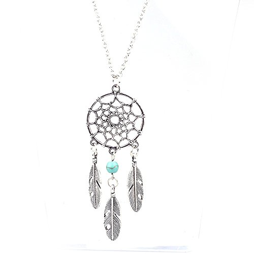 - XBKPLO Necklace for Women Vintage Dream Catcher Pendant Bib Chain Temperament Wild Silver Accessories Jewelry Charm