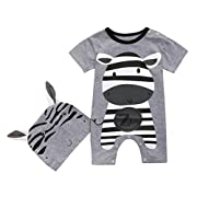 Pollyhb Baby Boys Girls Romper, 2PC Baby Lion Donkey Cow Panda Print Short Sleeve Romper Playsuit+Print Hats Set (6-12 Months, Gray)