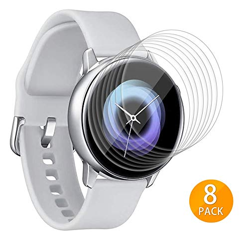 Tensea Galaxy Watch Active Screen Protector, 8 Packs Full Coverage PET Soft Flexible Film for Samsung Galaxy Watch Active 40mm, HD Clear, Bubble Free
