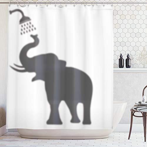 Bathing Elephant - Ambesonne Elephant Shower Curtain Set, Elephant Taking a Shower Bathing in Bath Tub Shadow Funny Art Print Humor Design, Fabric Bathroom Decor with Hooks, 70 Inches, White Grey