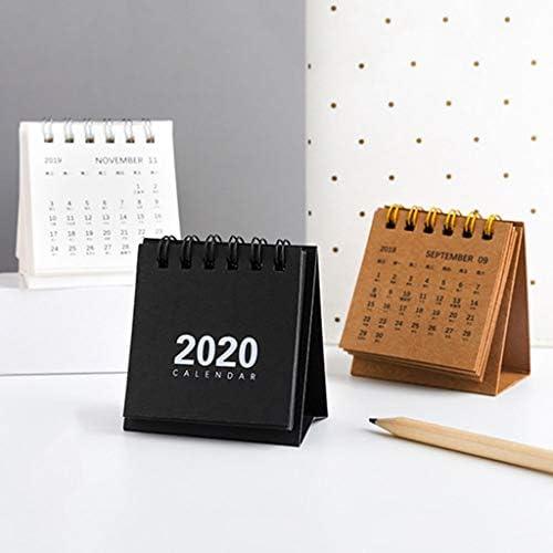 Tischkalender Kalendarien Mini-Tischkalender 2020 des Neuen Jahres Kreative Einfachen Schreibtisch Coil Notepad Kraft Paper Kalender (Color : Brown)
