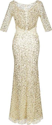 donne scollo Angel Sequin fashions Champagne a Mermaid con tubino mezze V maniche qqxpRwHTv