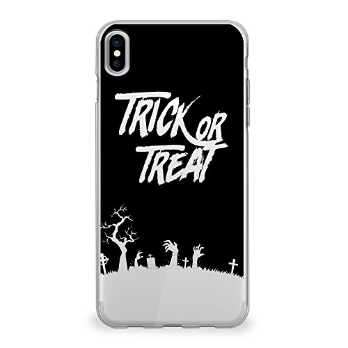 CasesByLorraine iPhone XS Max Case 6.5 inch, Halloween Trick or Treat Clear Transparent Case Flexible TPU Soft Gel Protective Cover for Apple iPhone XS Max (2018) (P109)