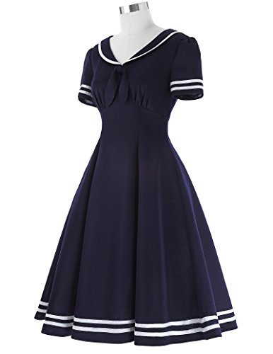 Bp266 Poque Blue Belle Dress Sailor Swing Party Sleeve Cocktail Women's Short navy Dress Retro PAq1xA