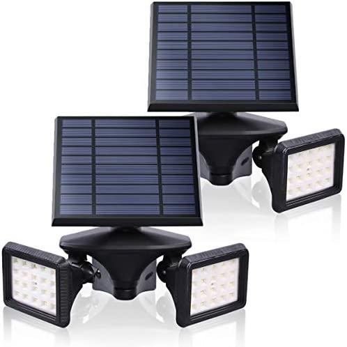 EMANER Outdoor Solar Lights with Motion Detector, 2-in-1 Solar Flood Light, 6000K Waterproof, Dusk to Dawn Wireless Security Light, Solar Powered Landscape Light for Yard, Garden, Porch, 2-Pack