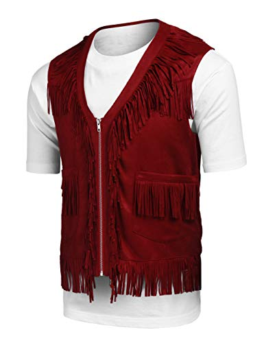 (COOFANDY Mens Fringe Vest Hippie Costume Casual Western V Neck Zipper Suede Leather Waistcoat Dark Red)